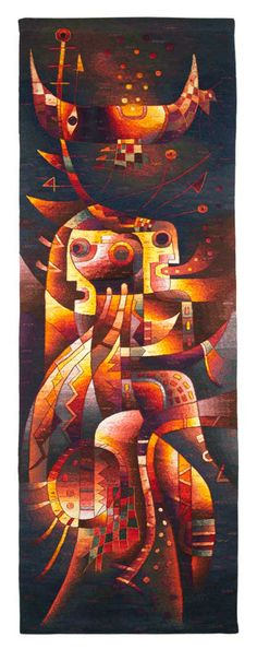 """Handwoven Tapestry Together Receiving Fertility"""". 116 x 39 inches (295 x 100 cm) /// Price: US$ 3,900 including Worldwide Shipping."""