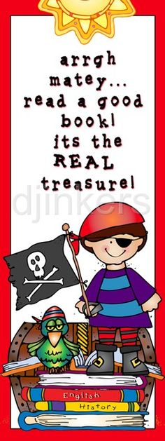 pirate bookmark, pirate clip art