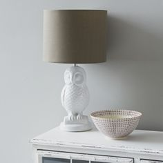 White Ceramic Owl Lamp and Shade