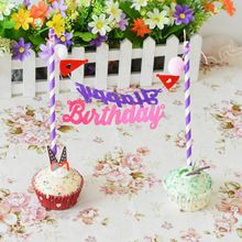 1 Set Birthday Party Cake Toppers Decoration Events Cupcake Toothpicks Food Picks Kids Children Favor Love Showers(China (Mainland))