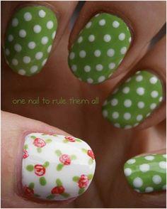Flowers & Polka Nail Art Design