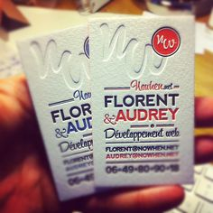 Florent & Audrey letterpress business cards were printed in two different colors onto 500 gsm pure cotton paper.