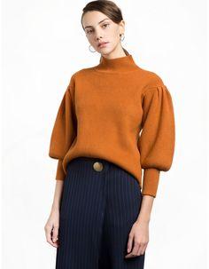 Rust Balloon Sleeve Sweater
