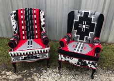 Items similar to SOLD! Navajo Southwestern Custom Upholstered Accent Wingback Chairs on Etsy Dream Furniture, Types Of Furniture, Painted Furniture, Colorful Furniture, Funky Chairs, Old Chairs, Folding Chairs, Black Chairs, Dining Chairs