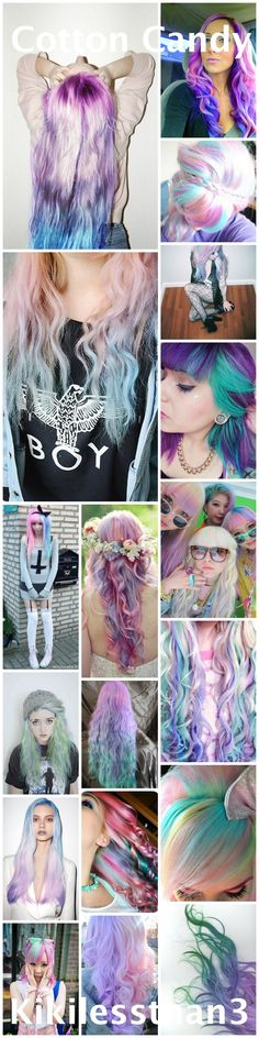 Cotton Candy hair. Dye your hair fun colors and get ideas here: Hair ideas for pink and blue hair, rainbow hair, cottoncandy colors, pink and purple hair, turquoise and pink hair, etc. Enjoy! Pastel, pastel, pastel!