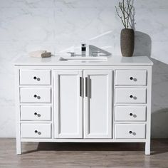 Shop for Stufurhome Emily 49 Inch Single Sink Bathroom Vanity. Get free delivery On EVERYTHING* Overstock - Your Online Furniture Outlet Store! Bathroom Vanities For Sale, White Bathroom Decor, Single Sink Bathroom Vanity, Vanity Sink, Bathroom Cabinets Over Toilet, Bathroom Floor Plans, Double Sink Vanity, Furniture Vanity, White Quartz