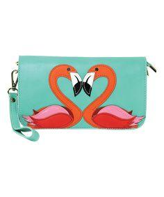 Flamingo Love Wristlet Crossbody Bag by Sleepyville Critters #zulily #zulilyfinds