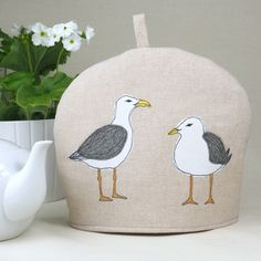 Tea Cosy Mothers Day Seagull Freehand Machine Embroidery Design - Mother's Day gift idea