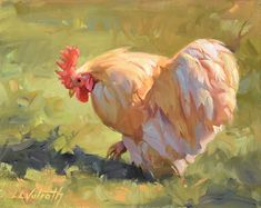Golden Boy by Linda Volrath Oil ~ 8 x 10 Cool Paintings, Animal Paintings, Animal Drawings, Drawing Animals, Chicken Painting, Chicken Art, Rooster Art, Watercolor Bird, Beautiful Artwork