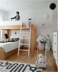 Loft Bed and maybe lower bad on casters so it can easily be moved to reinvent room when wanted. #kidsroomsdecorunisex