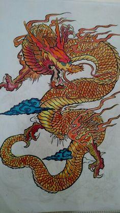 Dragão laranja do livro colorindo tattoo. Colorido com lápis de cor. Desenhos antiestress