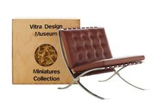 Discover the Vitra Miniatures Collection: Barcelona Chair by Ludwig Mies van der Rohe, a handmade replica of a classic modern design, reduced in size, a fitting gift for a furniture lover or design professional. Miniature Chair, Miniature Furniture, Vitra Chair, Vitra Design Museum, Vitra Museum, Mini Chair, Ghost Chairs, Garden Table And Chairs, Chair And A Half