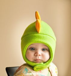 Green and Yellow Dinosaur Fleece Hat with Snap Closure. $20.00, via Etsy/my ovaries are weeping.