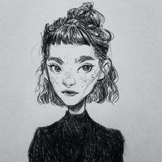 * * #art #drawing #sketch #sketchbook #sketchy #monochrome #blackandwhite #portrait #cute #ink #pendrawing