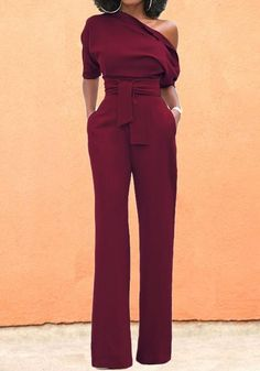 Date Red Asymmetric Shoulder Sashes Mode langer Overall Dressy Casual Outfits, Classy Outfits, Chic Outfits, Trendy Outfits, Fashion Outfits, Ladies Fashion, Red Outfits For Women, Spring Outfits, Casual Outfits For Moms