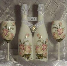 Декор предметов Свадьба Декупаж Свадебный набор L'amour Бутылки стеклянные Глина Краска Кружево Салфетки Фоамиран фом фото 1