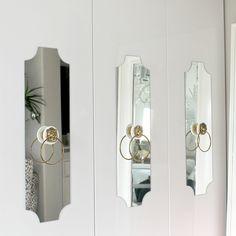 bedroom refresh | via bungalow m ikea hack- pax closet- add mirrors and use vintage towel rings as closet door pulls