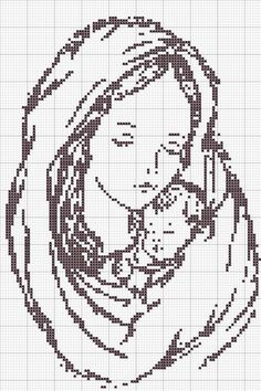 Cross-stitch Mother & Child.. no color chart, just use pattern chart colors…