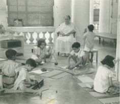 Dr. Montessori at a school in India