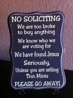 Hand Painted Distressed Rustic No Soliciting Sign by PinkyDesign, $20.00