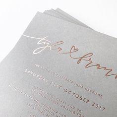 """562 """"Μου αρέσει!"""", 12 σχόλια - Paige Tuzée (@paigetuzee_designs) στο Instagram: """"Tyla + Frank in my custom hand lettering, hot foil stamped in rose gold onto beautiful grey stock ✨"""""""