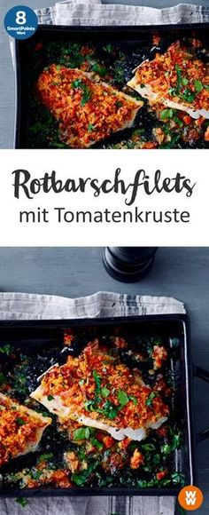 Rotbarschfilets mit Tomatenkruste Rotbarschfilets mit Tomatenkruste 2 Portionen, 8 SmartPoints / Portion, Weight Watchers, Fisch, fertig in 30 min. The post Rotbarschfilets mit Tomatenkruste & Rezepte appeared first on Low carb recipes . Shrimp Recipes, Fish Recipes, Low Carb Recipes, Healthy Recipes, Greek Recipes, Plats Weight Watchers, Healthy Snacks, Healthy Eating, Fish And Seafood