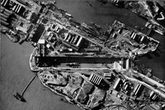 The Normandie Dock, Saint Nazaire, months after the raid. The wreck of HMS Campbeltown can be seen inside the dry dock.