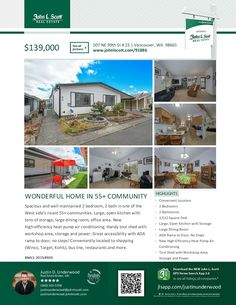 Two Bd/Two Ba Well-Maintained One Level Double-Wide Manufactured Meadow Verde Home in Nice 55+ Community at: 507 NE 99th St Unit 23, Vancouver, Clark County, WA! Area 41. Listing Broker: Justin Underwood, John L Scott, Vancouver, WA! Price Improved! Real Estate for Sale: Now $139,000 #realestate #priceimproved #vancouverrealestate #NorthHazelDell #Felida #onelevel #doublewidemanufacturedhome #MeadowVerde #twobedroom #55pluscommunity #JustinUnderwood #JohnLScott