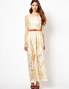 $58 Pearl Printed Lace Hi Lo Dress