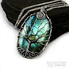Labradorite Tree of life necklace Sterling silver and Peridot pendant