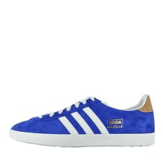 Feel cool and casual in these luxe, blue suede #Gazelle sneakers by #Adidas