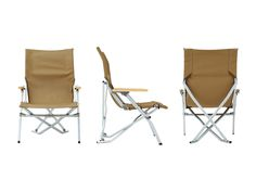 LOW BEACH CHAIR Lounge in luxury with this chair that includes a rugged, colored canvas fabric accented with bamboo wood armrests and an aluminum frame.