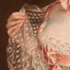 Dettagli 2. Cristoph F. R. Lisiewski: Ritratto di Agnes von Anhalt-Dessau. Olio su tela, del 1763. Gemaldegalerie, Dresda. Una meraviglia il pizzo di questa mantellina che la signora sta per appoggiarsi, forse, sull'ampia scollatura.