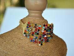 Bracelet manchette en cristal Swarovski multicolore : Bracelet par maloka