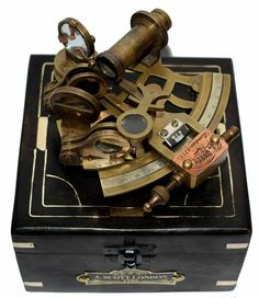 Antique Maritime Brass Pocket Sextant Vintage Working Drum Box Sextant in Cover