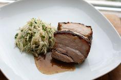 Schweinebach Sous-Vide mit Weiße-Bete-Salat