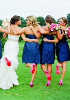 Love the pink heels with the navy bridesmaids dresses!!