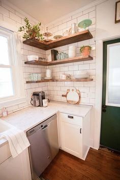 Our Restored Farmhouse Kitchen Reveal Open kitchen shelving // floating shelves in an old farmhouse Old Farmhouse Kitchen, Farmhouse End Tables, Wooden Kitchen, Farmhouse Design, Rustic Kitchens, Farmhouse Renovation, Open Kitchens, Diy Kitchens, Farmhouse Remodel