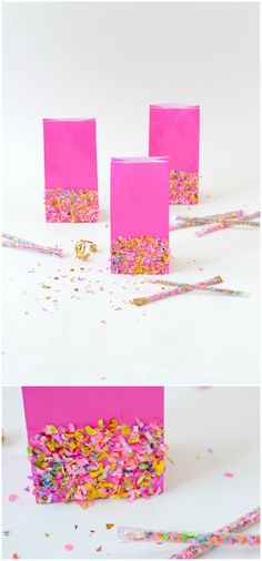 Take your party to the next level with these simple DIY goodie bags! They are so easy to make with colorful confetti and Mod Podge. via @modpodgerocks