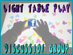 "Light Table Play Discussion Group on FaceBook!!  Post photos, discuss light table play, natural light play, glow in the dark play, and more!! Weekly light box play challenge, lots of great members giving positive feedback and great information!!  Join us!   Hosted by ""Caution! Twins at Play and ""and next comes L""!! https://www.facebook.com/groups/UltimateLightTableGuide/"