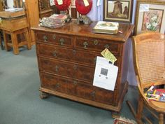 Fabulous RARE William & Mary Chest of Drawers circa 1700. Oyster Veneer and satinwood inlaid stringing geometric overlapping circles on drawer faces. Top has complex central medallion. Drawers have original brasses. Bun feet probably original. Oysters are olivewood. From Vendor 846 in booth 139. Priced at 6,850.00. Available at The Brass Armadillo Antique Mall - WheatRidge, CO! (303) 403-1677. Shipping available.