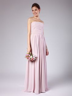 Simple Strapless Column Bridesmaid Dress - Great site for reasonably priced bridesmaid dresses in ANY color!
