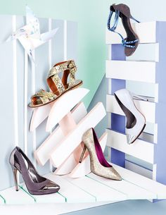 Shoes Handbag Display, Shoe Display, Shoes Editorial, Fashion Still Life, Fashion Banner, Photoshoot Concept, Walk In My Shoes, Shoe Gallery, Metallic Shoes