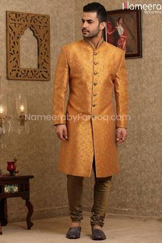 Buy Men's Sherwani-Pakistani Golden Sherwani for Wedding Online-Men's Wear With Embroidery, Print Work In USA, UK, Canada, Australia Visit Now : www.NameerabyFarooq.com or Call / Whatsapp : +1 732-910-5427 Mens Sherwani, Wedding Sherwani, Work In Usa, Wedding Online, Indian Groom Wear, Print Patterns, Pattern Print, Golden Color