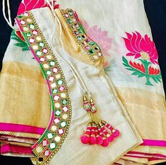 Elegant Designer Fancy Sari Blouse Designs - The Handmade Crafts Simple Blouse Designs, Stylish Blouse Design, Saree Blouse Neck Designs, Sari Blouse, Bridal Blouse Designs, Kurta Designs, Mehndi Designs, Mirror Work Saree Blouse, Mirror Work Blouse Design