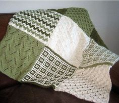 Free knitting pattern for Sampler Afghan with Leaves of Grass, Bargello, Honeycomb, Mosaic Stitch, Diamond Brocade and Quail afghan blocks and more sampler stitch knitting patterns