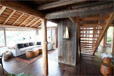 déco style chalet moderne revetements-intérieurs-bois-dépareillés
