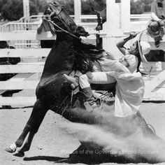 Escaramuza Charra (Hacienda-style cowgirl) at rodeo, Santa Fe, New Mexico Date: 1980 From the Santa Fe New Mexican collection, Negative Number HP.2014.14.565