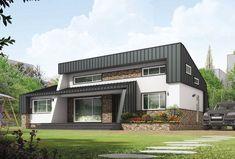 【전원주택 설계】 실용성 높인 모던 스타일 28평 소형주택 Exterior Design, Home Projects, Home And Living, Tiny House, Building A House, Architecture Design, House Design, Mansions, House Styles
