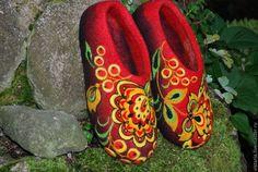 Купить Тапочки «Хохлома» Русский стиль - хохломская роспись, авторская ручная работа, русские узоры